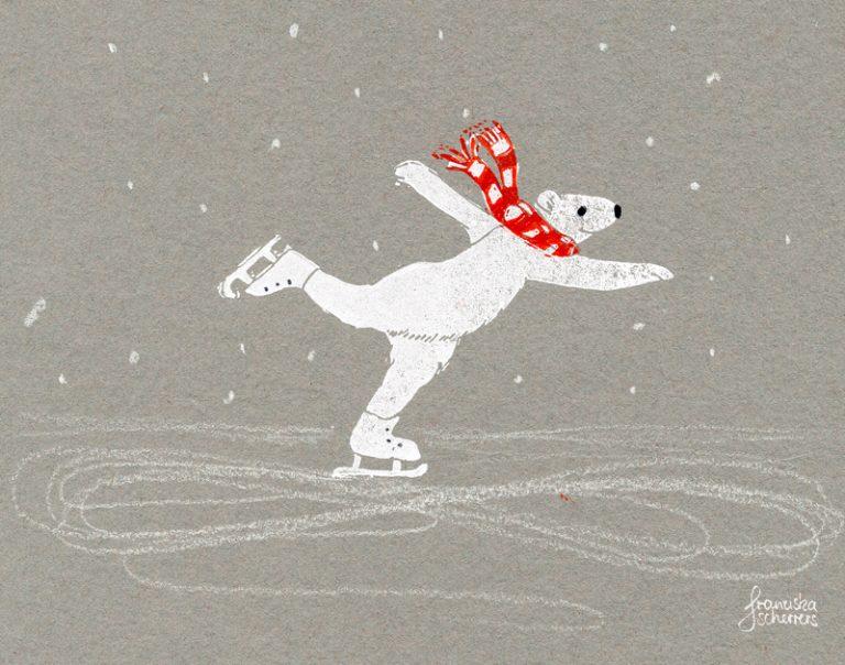 Es tanzt der Eisbär übern See – Linoldruck