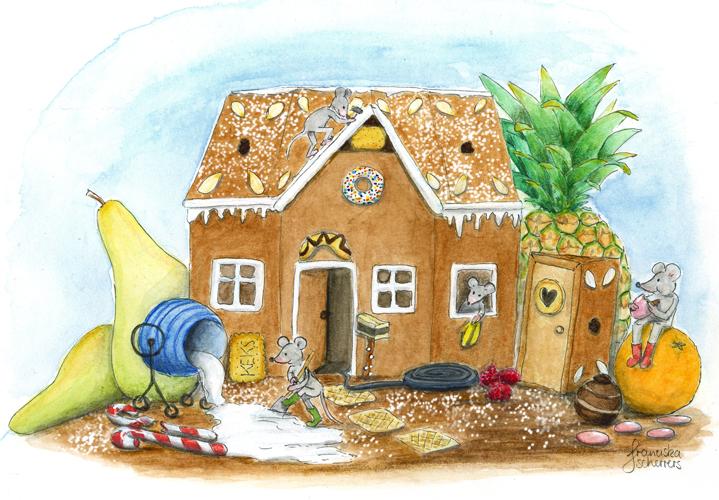 Kinderbuchillustration Weihachten Lebkuchenhaus Baustelle Mäuse