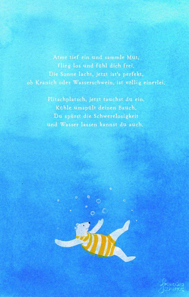Posesie in Text und Bild: der Eisbär taucht ein ins kühle Nass. Schwerelosigkeit mit Linoldruck, Aquarellfarbe und Bleistift.