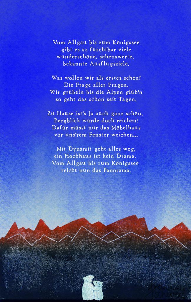 Poesie in Text und Bild. Panoramablick mit Sprengkraft: Eisbären blicken ins Alpenglühen. Linoldruck und Aquarellfarbe