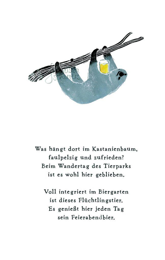Poesie in Text und Bild. Das Faultier genießt sein Feierabendbier. Linoldruck
