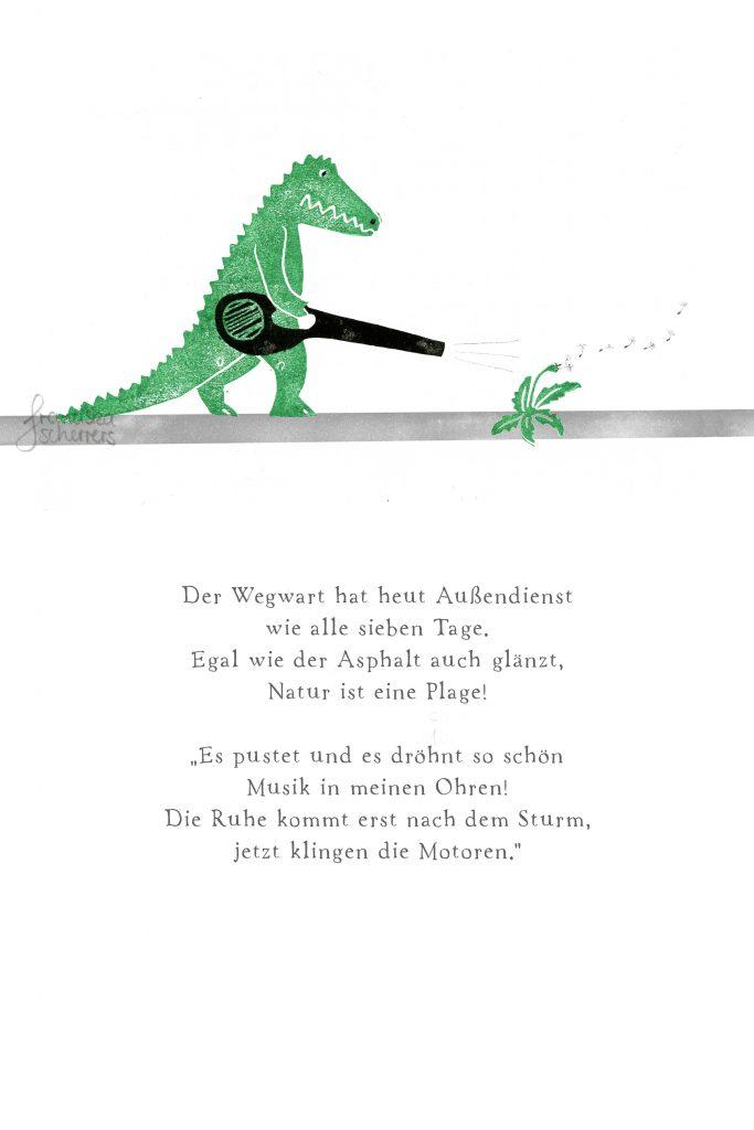 Poesie in Text und Bild. Das Krokodil mit dem Laubbläser sorgt für Sauberkeit auf dem Asphalt. Da hat kein Stäubchen eine Chance. Und auch keine Pusteblume. Linoldruck und Bleistift.
