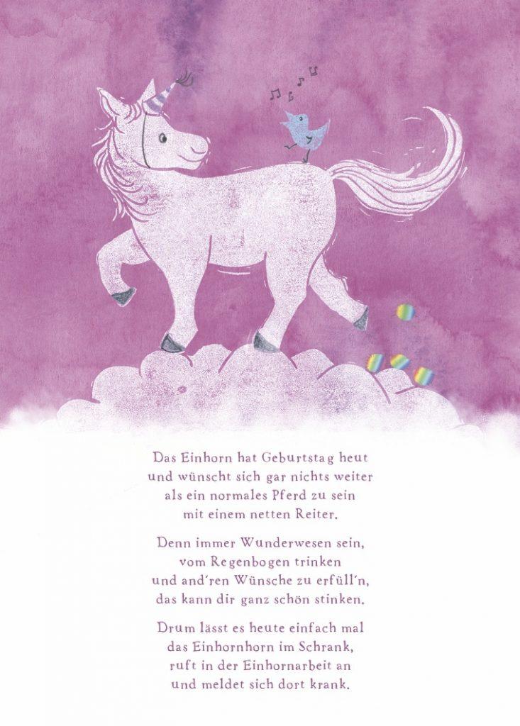 Geburtstagskarte mit Einhorn. Aquarell, Linoldruck, Poesie