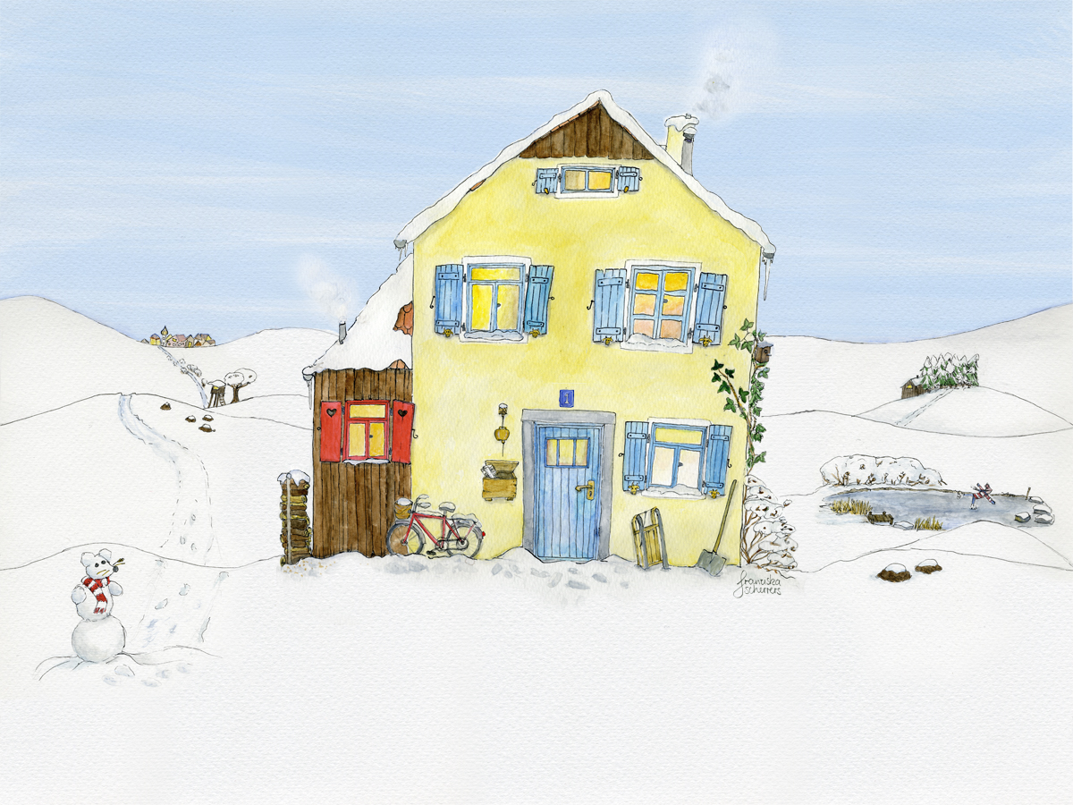 Illustration Adventskalender Außenansicht Haus in Winterlandschaft