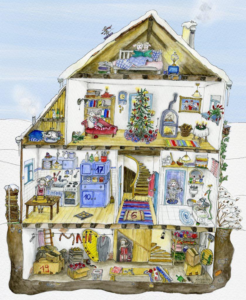 Adventskalender Schafillustration weihnachtliches Wimmelbild in Winterlandschaft