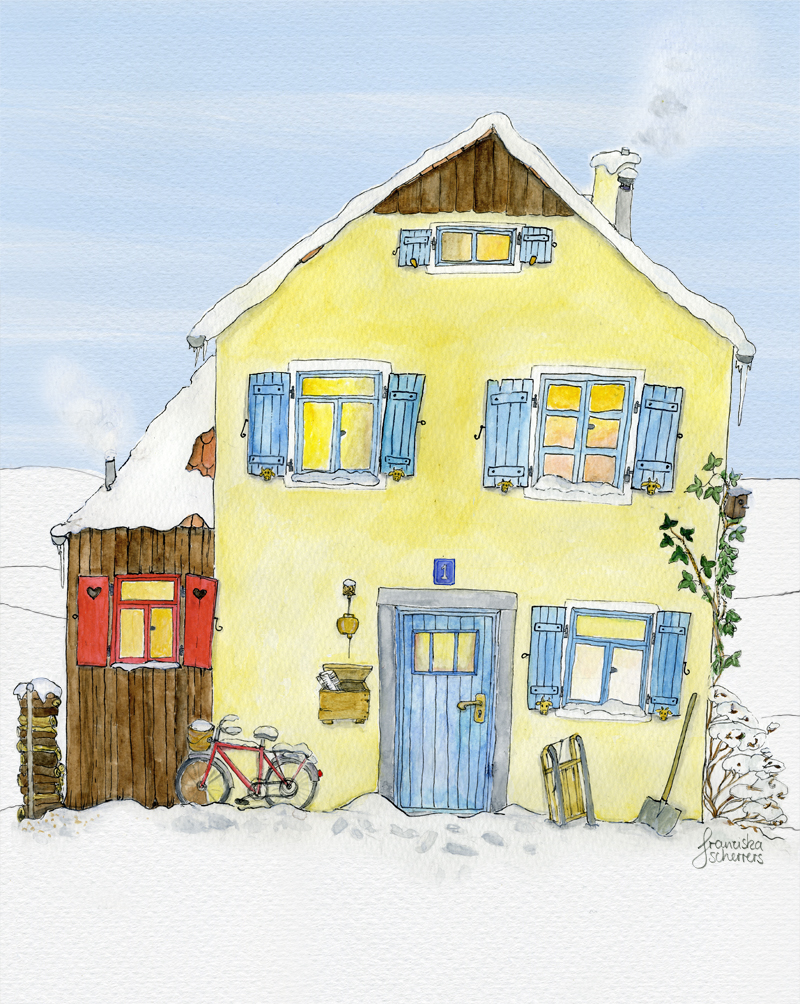 Illustration Haus in Winterlandschaft Adventskalender Ausschnitt