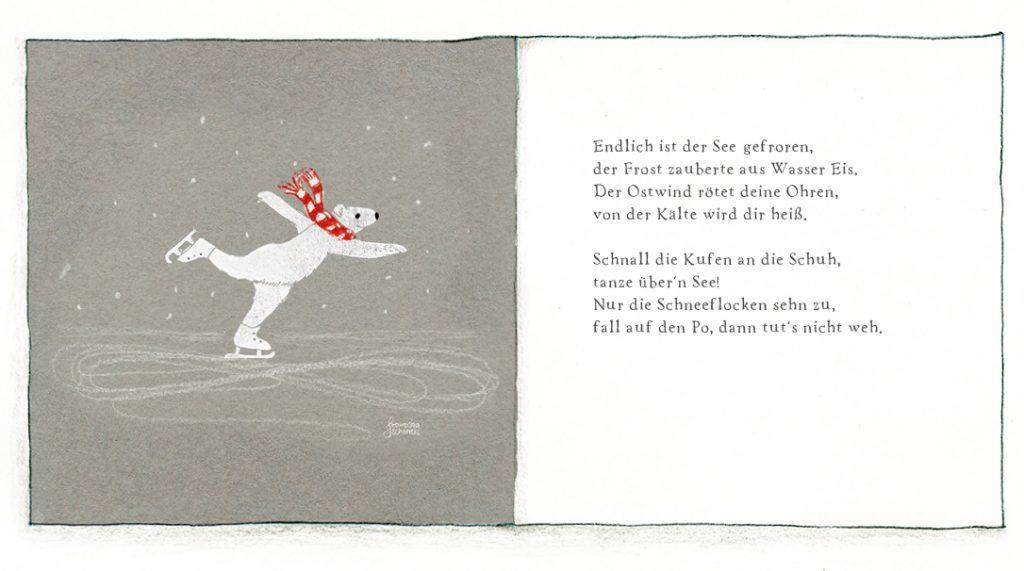 Linoldruck Illustration und Gedicht Eisbär auf Schlittschuhen