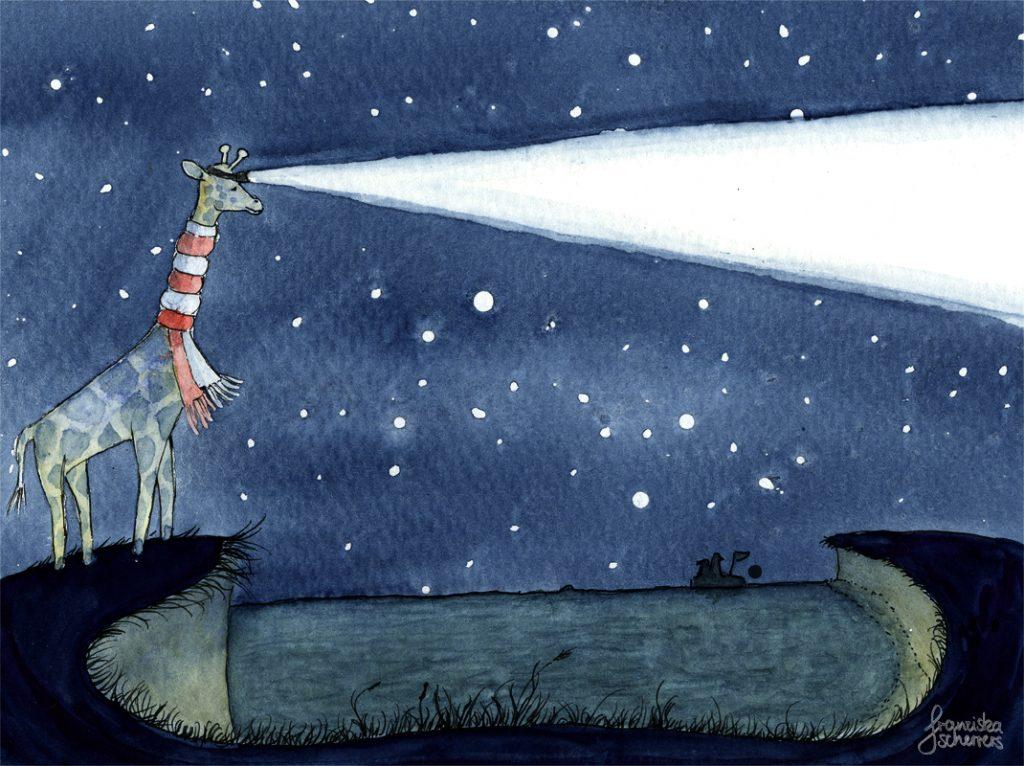 Kinderbuchillustration Nacht Giraffe Sterne Leuchtturm