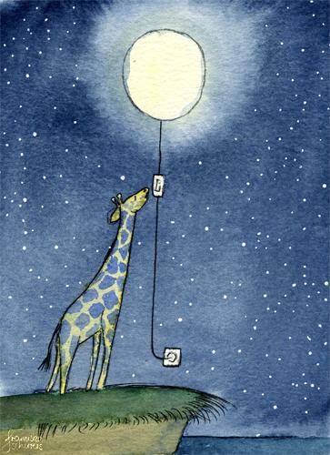Illustration Postkarte Nacht Giraffe Vollmond Lichtschalter