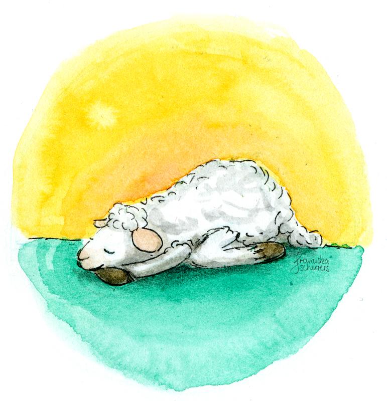 Schafillustration Schafyoga Entspannung schlafendes Schaf