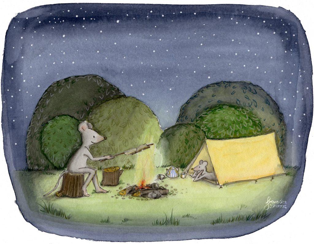 Kinderbuchillustration Nacht Zelt Lagerfeuer Mäuse