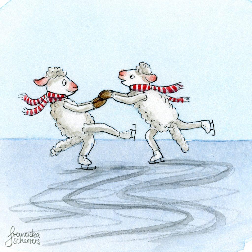 Schafe tanzen auf Schlittschuhen übers Eis. Aquarellillustration für Kinder