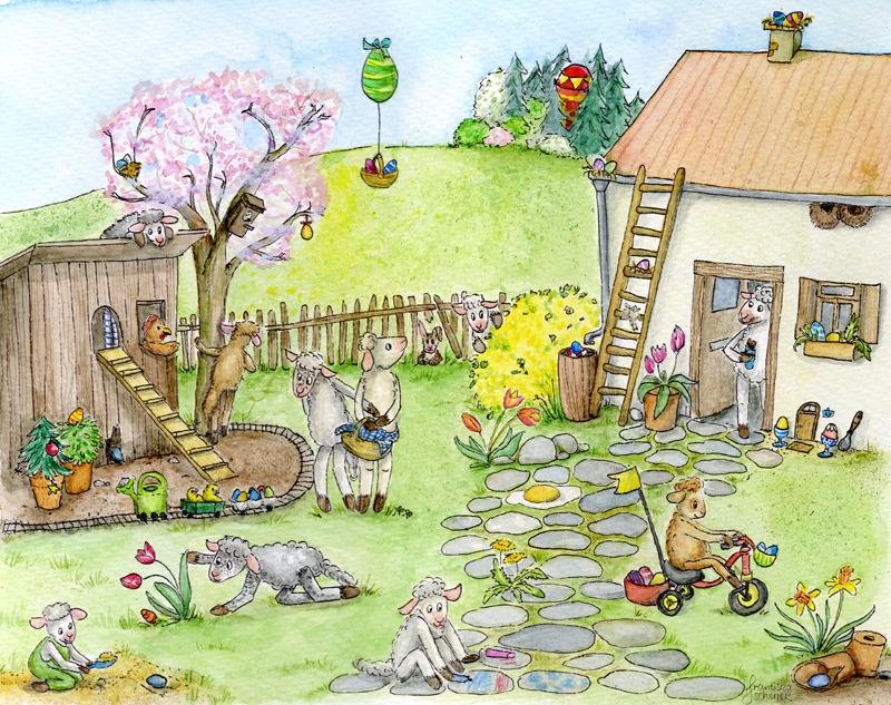 Ostern in Schafhausen – Wimmelbild zum Ausmalen