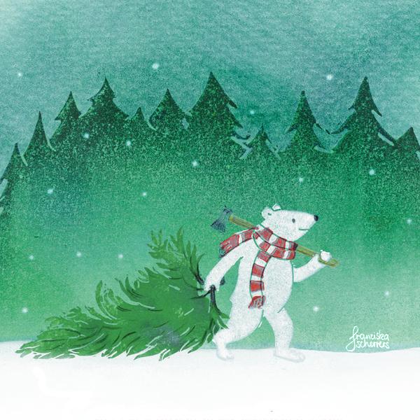 Eisbär Weihnachtsbaum Weihnachtskarte Kinderbuchillustration Linoldruck Mischtechnik