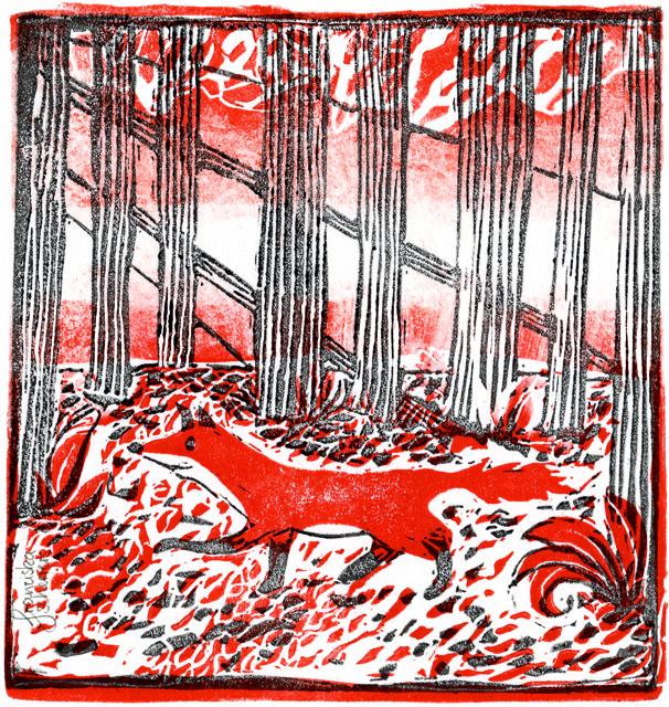 Kinderbuchillustration Postkarte Linoldruck Fuchs