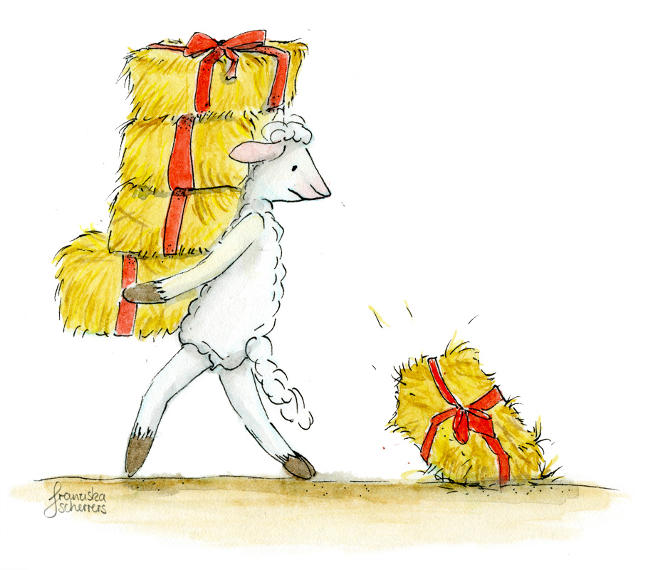 Illustration Weihnachten Schaf Geschenke Kinderbuchillustration