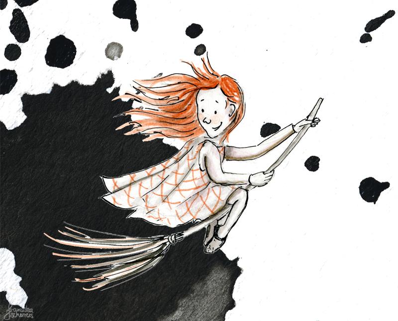 Kinderbuchillustration Inktober kleine Hexe Besen