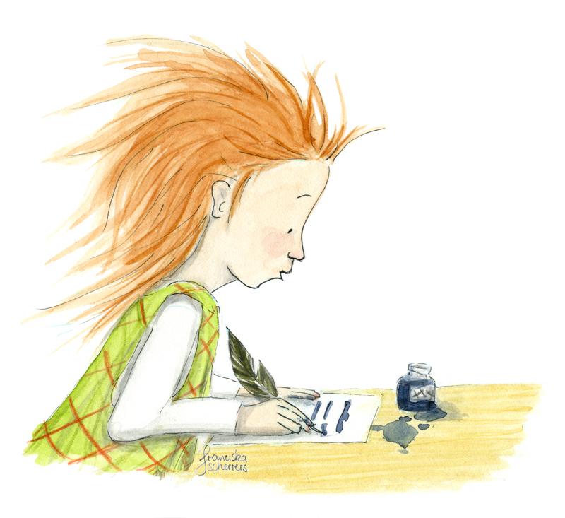 Kinderbuchillustration kleine Hexe schreibt