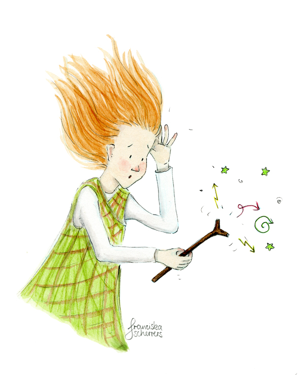 Kinderbuchillustration kleine Hexe Zauberei verwirrt