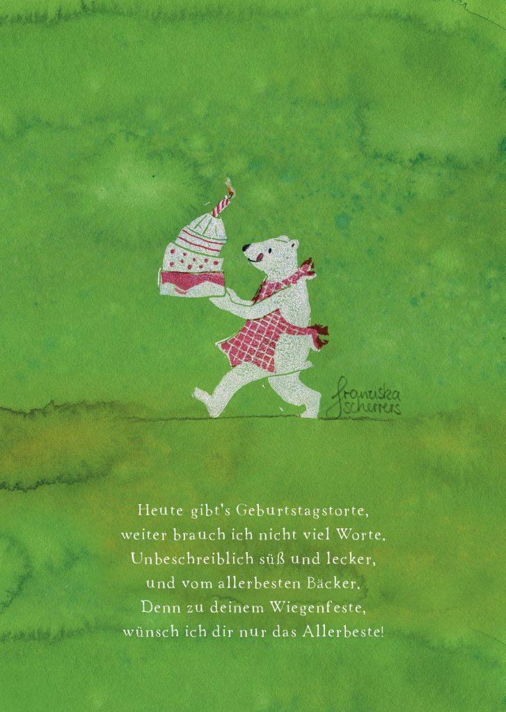 Linoldruck mit Eisbär und Geburtstagstorte. Hintergrund Aquarell.