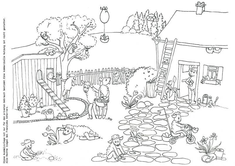 Franziska Scherrers Illustration Ostern Wimmelbild Schafhausen Ostereiersuchen Ausmalbild Malvorlage Schwarzweiß Outline Freebie