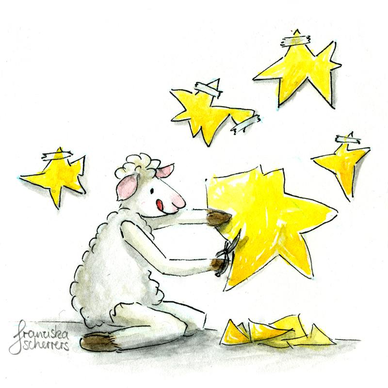 Kinderbuchillustration Weihnachtskarte Schaf Sterne basteln